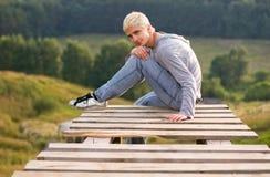 человек моста стоковое фото rf