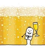 Человек мультфильма выпивая предпосылку Шампань и пузырей бесплатная иллюстрация