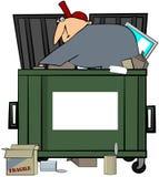 человек мусорного контейнера подныривания иллюстрация вектора