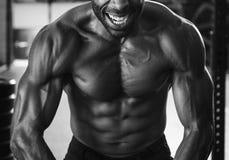 Человек мышцы на спортзале стоковые фотографии rf