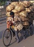 человек нажимая рикшу стоковое изображение rf