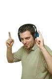 человек наушников танцы слушая Стоковые Изображения