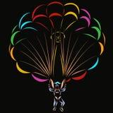Человек на красочном парашюте, черной предпосылке иллюстрация штока