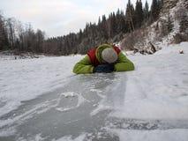 Человек на льде Стоковые Изображения