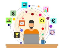 Человек на ноутбуке думая о планах на будущее бесплатная иллюстрация