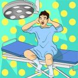 Человек на операционном столе Медицинская тема, имитация шуточного стиля Иллюстрация растра искусства шипучки Иллюстрация вектора