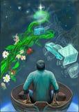 Человек на шлюпке на ноче бесплатная иллюстрация