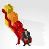 Человек на диаграмме в виде вертикальных полос финансового кризиса Стоковая Фотография RF