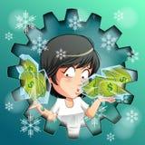 Человек носит замороженные деньги во льду бесплатная иллюстрация