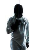 Человек ограждая салютовать силуэта стоковые изображения rf