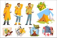 Человек одетый как турист, fisher и альпинист Располагающся лагерем, рыбная ловля, взбираясь оборудование активный уклад жизни Ша бесплатная иллюстрация