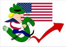 Человек оседлал лошадь в стилизованном знаке доллара Стоковые Фото