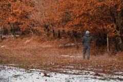 Человек охотника с винтовкой в лесе Стоковое фото RF
