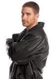 человек пальто кожаный стоковые изображения