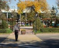Человек пересекает дорогу на пешеходный переход стоковое фото