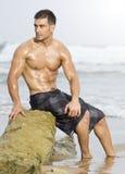 человек пляжа сексуальный Стоковое Изображение