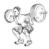 Человек поднимая вес, положение стоя от задней части Стоковое Изображение
