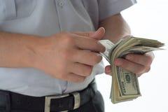 Человек подсчитывая доллар Стоковая Фотография RF