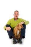 человек пожилых людей собаки Стоковые Изображения RF