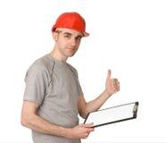 человек показывая большие пальцы руки знака вверх Стоковое фото RF