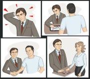 Человек получает рассказ loan_the банка нарисован в шуточном Стоковые Изображения