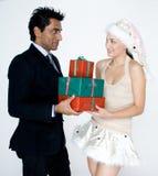 Человек получая подарки Стоковые Фото