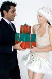 Человек получая подарки Стоковые Изображения