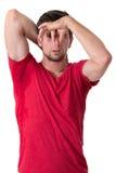 Человек потея очень плох под подмышкой Стоковая Фотография