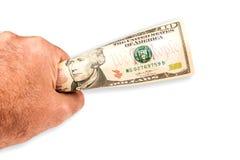 Человек предлагая банкноту 10 долларов Стоковые Фотографии RF