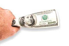 Человек предлагая 100 банкнот доллара Стоковое Изображение