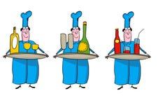 человек предпосылки изолированный шеф-поваром над белизной стоковое изображение
