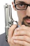 Человек при изолированная пушка Стоковое Изображение RF