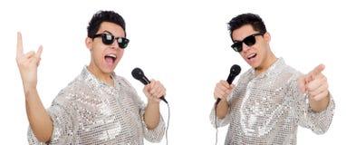 Человек при mic изолированный на белизне Стоковые Изображения RF