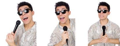 Человек при mic изолированный на белизне Стоковое Изображение