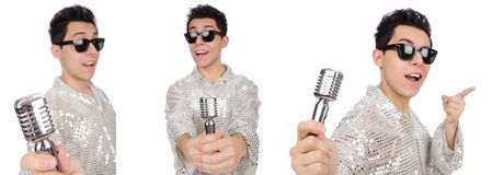 Человек при mic изолированный на белизне Стоковые Фотографии RF