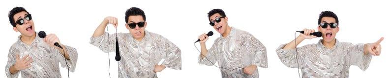 Человек при mic изолированный на белизне Стоковая Фотография RF