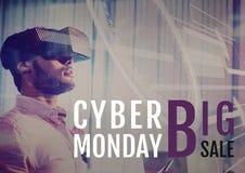 Человек продажи понедельника кибер используя увеличенную реальность стоковые фото