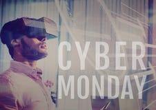 Человек продажи понедельника кибер используя увеличенную реальность стоковое изображение