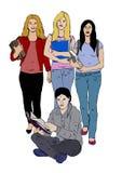 Человек прочитал книгу с девушками позади иллюстрация штока