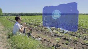 Человек работает с мозгом 3D на голографическом дисплее на краю поля видеоматериал