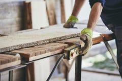 Человек работая в лесопилке стоковые фотографии rf