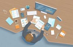 Человек работая в офисе на таблице Кресло места для работы настольного компьютера рабочего места, поставки офиса, монитор Диаграм иллюстрация вектора
