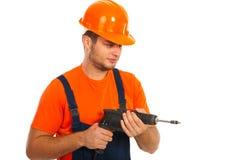 Человек работника с сверлом Стоковое Изображение RF