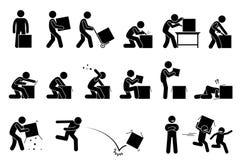Человек раскрывая и unboxing коробку бесплатная иллюстрация