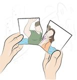 Человек рвет фото конец отношения памяти также вектор иллюстрации притяжки corel стоковое фото rf