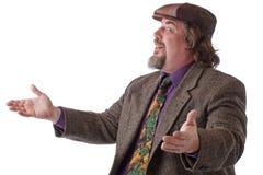 человек рукояток жизнерадостный тяжелый раскрывает установленная широкую Стоковое Фото
