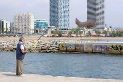 человек рыболовства barcelona Стоковые Фото