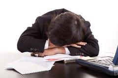человек стола дела над спать Стоковая Фотография