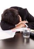 человек стола дела над спать Стоковые Фото