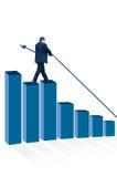 Человек стоя на диаграмме в виде вертикальных полос Стоковые Фотографии RF
